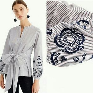 {J.crew} Embroidered tie front tunic